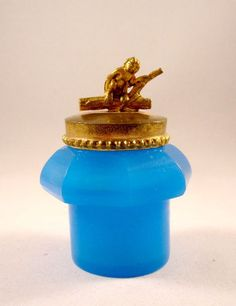 Fabulous LARGE French 19th Century Blue Opaline Glass perfume set (detail of the inkwell)
