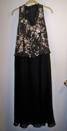 874cf7bb314 J Kara Long Black Dress Beaded Size 8P Mother of the Bride Formal Dress  Black