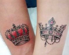 Crown Tattoo is a meaningful design that is fit for all sexes. See our 80 Crown Tattoo Designs with images and symbolic crown tattoo ideas for queen, king, princess, and more royalty-inspired crown tattoos for men and women. Queen Crown Tattoo, King Queen Tattoo, Couple Wrist Tattoos, Best Couple Tattoos, Sexy Tattoos, Body Art Tattoos, Tatoos, Garter Tattoos, Rosary Tattoos