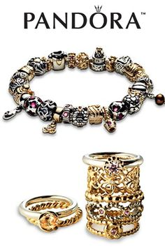Love Pandora jewelry: love the silver and gold mix
