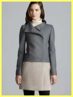 NWT $461 PATRIZIA PEPE FIRENZE COLORBLOCK GREY WOOL COAT Sz IT 46 US 6 8 10 M L #PatriziaPepe #BasicCoat