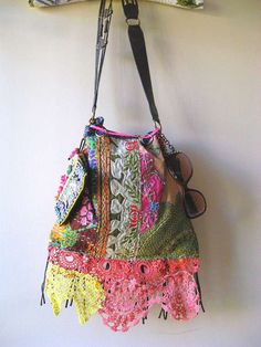 Antique Embroidered Bag Leather Kantha Tassels by AllThingsPretty, $285.00