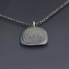 Sterling Silver Labyrinth Pebble Necklace by Lisa Hopkins Design