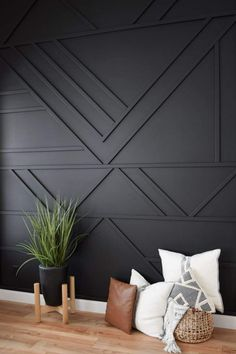 Home Decoration Inspiration Modern Accent Wall.Home Decoration Inspiration Modern Accent Wall Black Accent Walls, Bedroom Accent Walls, Living Room Accent Wall, Black Walls, Accent Wall Decor, Bathroom Accent Wall, Accent Wall Designs, Black Wall Paints, Bedroom Wall Panels