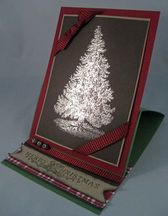 pewter embossed Christmas tree easel card