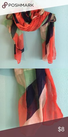 Lightweight scarf with coral and mint Coral, cream, navy and mint scarf- purchased in adorable Portland boutique. Accessories Scarves & Wraps