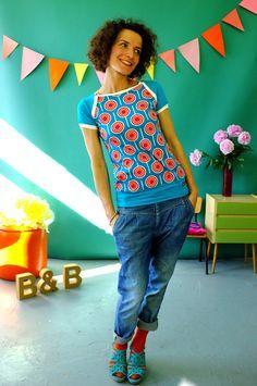 T-Shirts mit Print - Sporty kurzarm T-shirt Lolita türkis - ein Designerstück von Bonnie-and-Buttermilk bei DaWanda