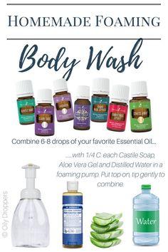 Body Wash Homemade Foaming Body Was Yl Essential Oils, Young Living Essential Oils, Essential Oil Blends, Yl Oils, Blue Tansy Essential Oil, Diy Body Wash, Homemade Body Wash, Natural Body Wash, Organic Body Wash