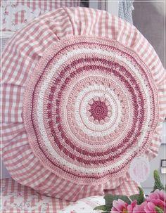 Crochet circle motif cushion