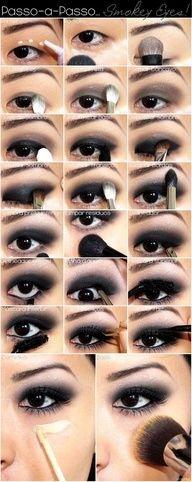 Passo a passo de maquiagem com sombra preta. .