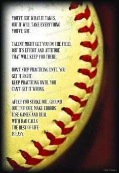 Motivational Softball Quotes, Motivational Photos, Inspirational Signs, Sport Quotes, Inspirational Baseball Quotes, Softball Gifts, Girls Softball, Softball Sayings, Softball Room