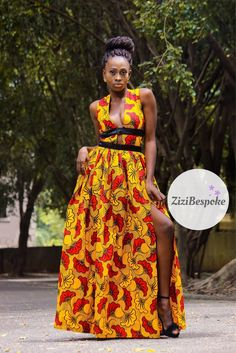 Yellow African Dress, Yellow Maxi Ankara Dress, Yellow and Red Open Front Dress, Long Yellow Ankara Dress, Sleeveless Yellow Ankara Dress Robes Ankara, Ankara Dress, Dresses For Sale, Cute Dresses, Beautiful Dresses, Long Dresses, African Attire, African Dress, African Outfits