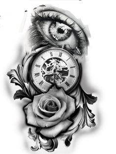 uhlibaty - 0 results for tattoos Clock Tattoo Design, Tattoo Design Drawings, Tattoo Designs, Time Tattoos, Leg Tattoos, Body Art Tattoos, Clock Tattoos, Rose Tattoos For Men, Tattoos For Guys