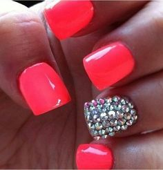 Hot pink crystal nails
