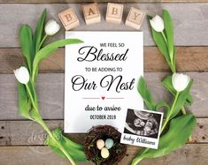 Easter Pregnancy Announcement, Spring Baby Announcement, Personalized Social Med… – My Everything Easter Pregnancy Announcement, New Baby Announcements, Baby Announcement Facebook, Spring Maternity, Blessed, New Baby Products, Unique Products, Facebook Instagram, Facebook Idea