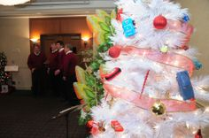 """Uptown Motors """"Cars"""" Tree, Butterfly Tree and Delight Quartet entertaining guests. Leukemia And Lymphoma Society, Butterfly Tree, Motors, Merry Christmas, Trees, Gift Wrapping, Entertaining, Cars, Merry Little Christmas"""