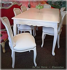 Shabby Chic Dining Room, Dining Room Table, Dining Chairs, Retro Furniture, Repurposed Furniture, Furniture Design, Interior Design Living Room, Living Room Decor, Dining Room Inspiration