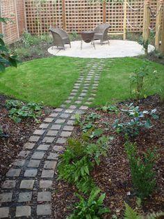 path connecting areas in long suburban garden by fenton roberts garden design