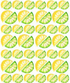 Lemon & Lime Pattern. Pen and watercolour.