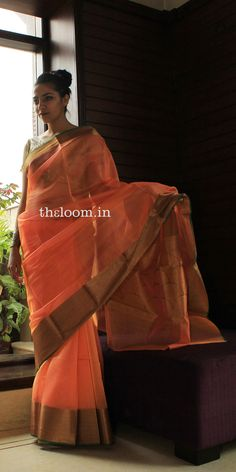 Peach Handwoven Cotton Kora Saree