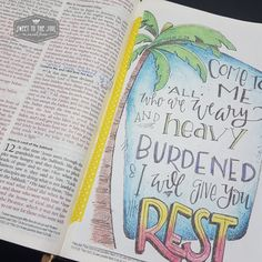 Bible Journaling Matthew 11:28 from Sweet To The Soul [rest, palm tree]