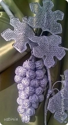 Поделка изделие Моделирование конструирование виноград  шпагат  ии серебро   Клей Краска Мешковина Шпагат фото 3