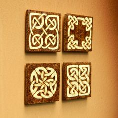 Celtic Knots Wooden Fridge Magnets Set Of Four