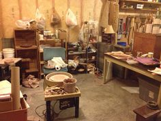 Garage pottery studio space.