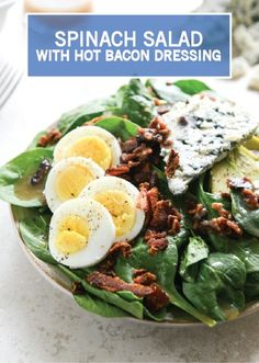 This 5-ingredient Spinach Salad gets a hearty fall twist with slices of hardboiled eggs, tangy Gorgonzola cheese, crumbled bacon bits, and a hot bacon dressing. This serves as a filling lunch, dinner salad, or side to any entree. And if you're cooking for one, this recipe is both easy and satisfying!