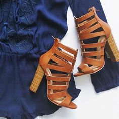 Chunky caged heels