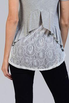 Beautiful Lace Crochet Detail With Ruffle Shirttail Trimming #crochet #shirttail Shop @ www.JubileeCouture.com