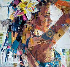 Paper collage by Derek Gores. Collage Artist Masterfully Controls Chaos - My Modern Met Collage Kunst, Art Du Collage, Collage Artists, Face Collage, Collage Maker, L'art Du Portrait, Collage Portrait, Mosaic Portrait, Derek Gores