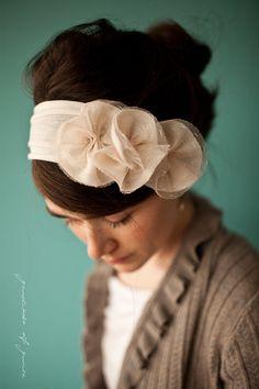 Cream Lacework hydrangeas headband - Garlands of Grace Something Special Spring 2012. $32.00, via Etsy.
