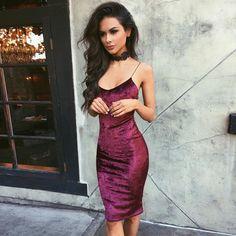 Chloe-Ann Velvet Midi Dress - apply code DREAM10 for 10% off + Free International Shipping!