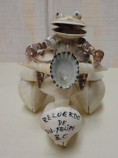 Motorcycle Frog Made of Seashells Recuerdo de SN Felipe BC Chile Handmade | eBay