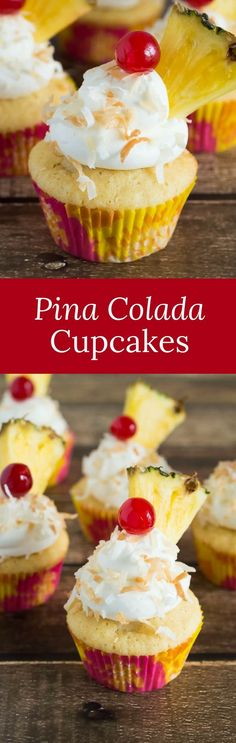 These simple pina colada cupcakes will make every day seem like a trip to the tropics! Have your pina colada and eat it too, in a cupcake! via @introvertbaker