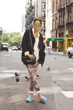 The perfect outfit to walk around the city // Thank you man repeller // Ermanno Scervino jacket // Club Monaco blouse // Isabel Marant pants, Nike sneakers // Valentino purse // Rag & Bone sunglasses