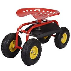 Gardening Rolling Garden Cart Work Seat With Heavy Duty Tool Tray Gardening Planting Red *** Find similar gardening products by clicking the image