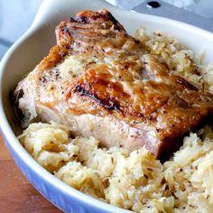 Pork Loin Roast with Brown Sugar Sauerkraut.