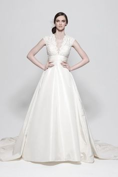 ivory silk taffeta, hand embroidered v-neck bodice, capped sleeve and full skirt with pockets. I love everything about this!