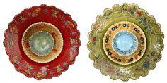 Slip Decorated Ceramic Serving Bowls.Lucinda Mudge Serving Bowls, Decorative Plates, Ceramics, Home Decor, Art, Ceramica, Art Background, Pottery, Decoration Home