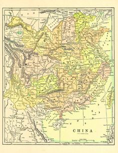Old Map of China from 1904, a printable digital map from ArtDeco on Etsy, a great source for vintage images.