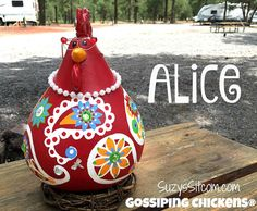 Colorful paisley chickens made from dried gourds!