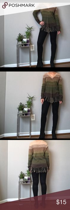 CJB New York Sweater CJB New York sweater! Striped, green and brown with tassels! Good condition Sweaters V-Necks