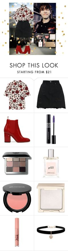 """Outfit# 103"" by lizzy33652 ❤ liked on Polyvore featuring Ganni, Christian Dior, Bobbi Brown Cosmetics, philosophy, Jouer, Too Faced Cosmetics and Betsey Johnson"