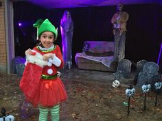 Elf Costume for Halloween & decorated garage.