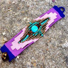 Handmade Woven Fiber Bracelet Unique Fabric Cuff Boho Jewelry on Etsy, ฿933.33