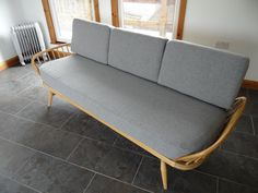 Cushions & Covers Only. Ercol Studio Couch/Daybed. Light Grey Stitch