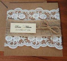Rustic Lace Homemade Wedding Invitations by BluePandaInvitations