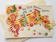 Vintage Christmas Greeting Card  Candy